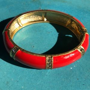 J. Crew orange enamel and rhinestone bracelet